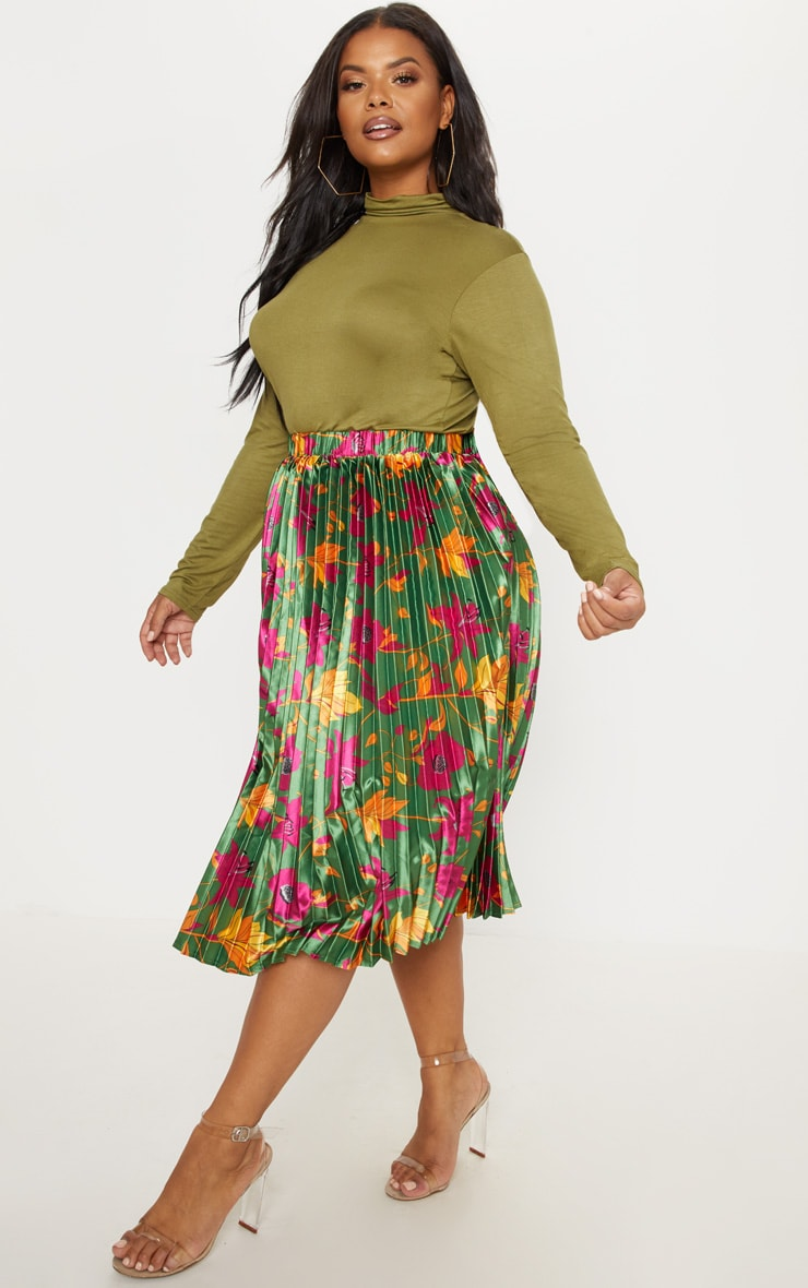 Plus Emerald Green Floral Print Pleated Midi Skirt 5
