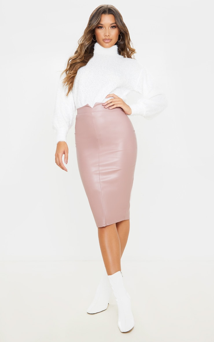Eva Rose Faux Leather Panel Midi Skirt 1