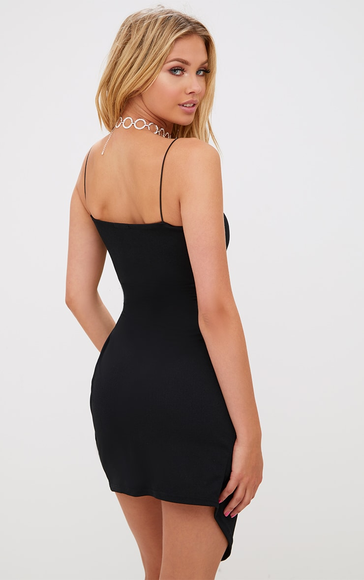 Black Straight Neck Strappy Wrap Detail Bodycon Dress 2