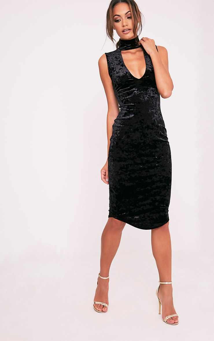 Freah Black Crushed Velvet Choker Neck Midi Dress 1
