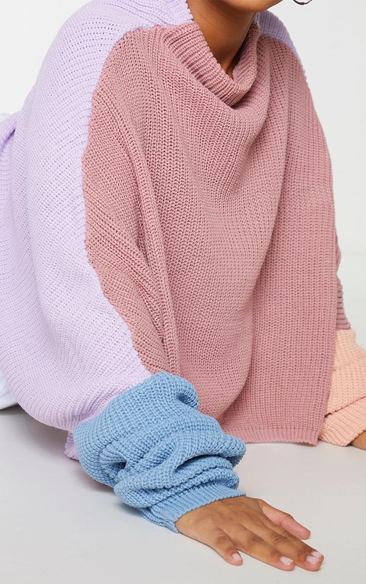 Plus Pink Oversized Colour Block Jumper 4