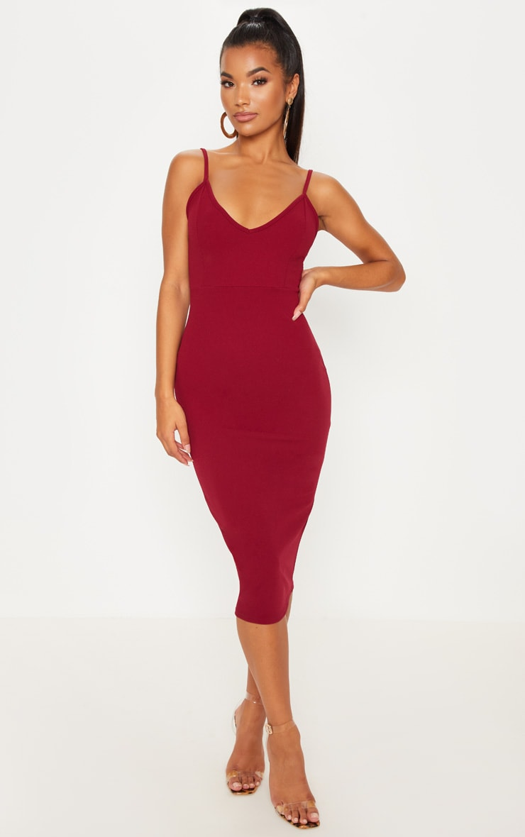 Berry Strappy Plunge Midaxi Dress