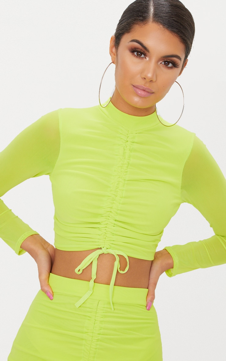 Lime Mesh Ruched Front Long Sleeve Crop Top 5