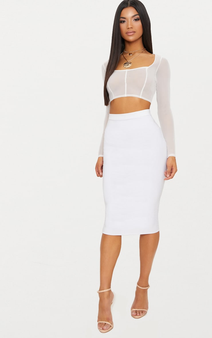 White Mesh Long Sleeve Seam Detail Crop Top  4