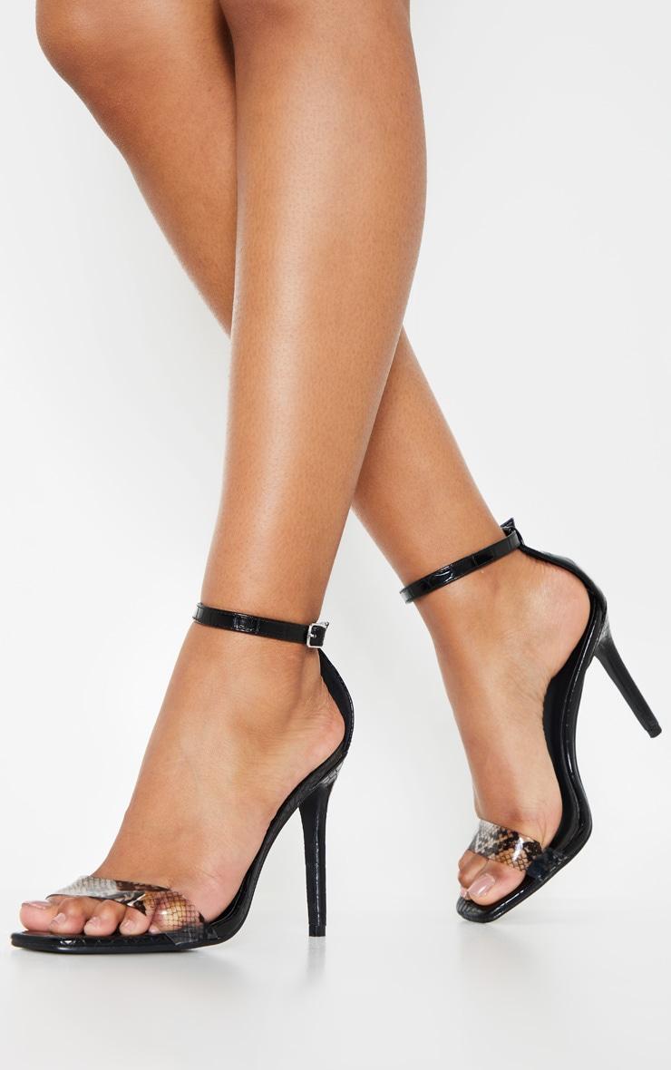 Black Square Toe Snake Strap Sandal 1