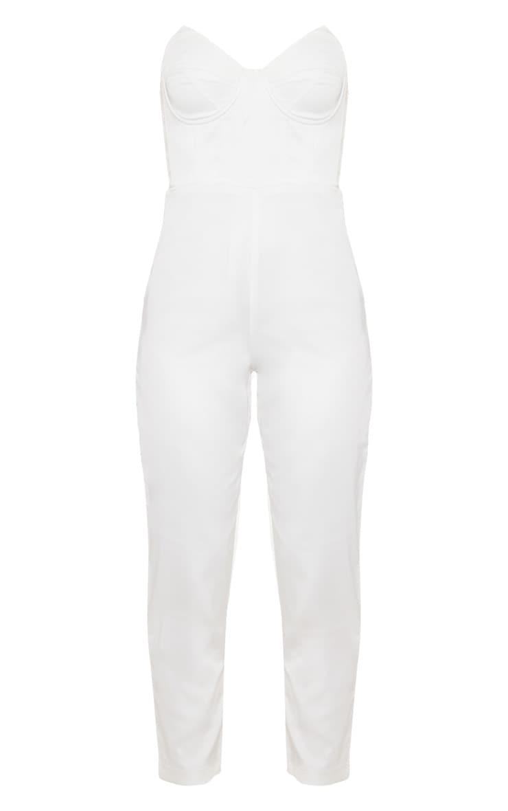 White Satin Corset Detail Bandeau Jumpsuit 3