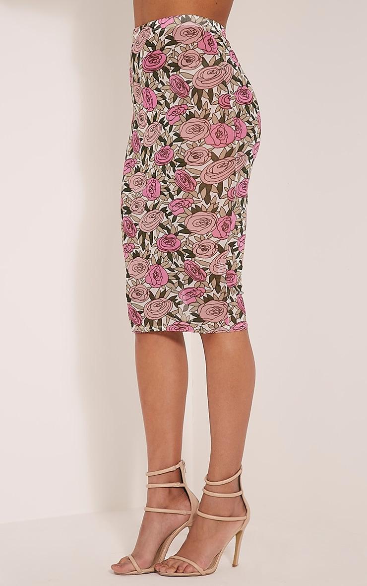 Denon Pink Floral Mesh Midi Skirt 4
