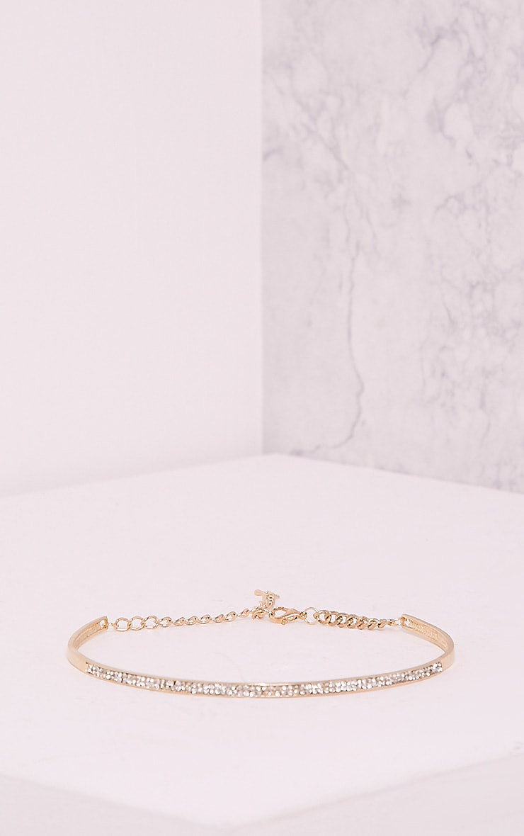 Jaimie Gold Diamante Metal Choker 2