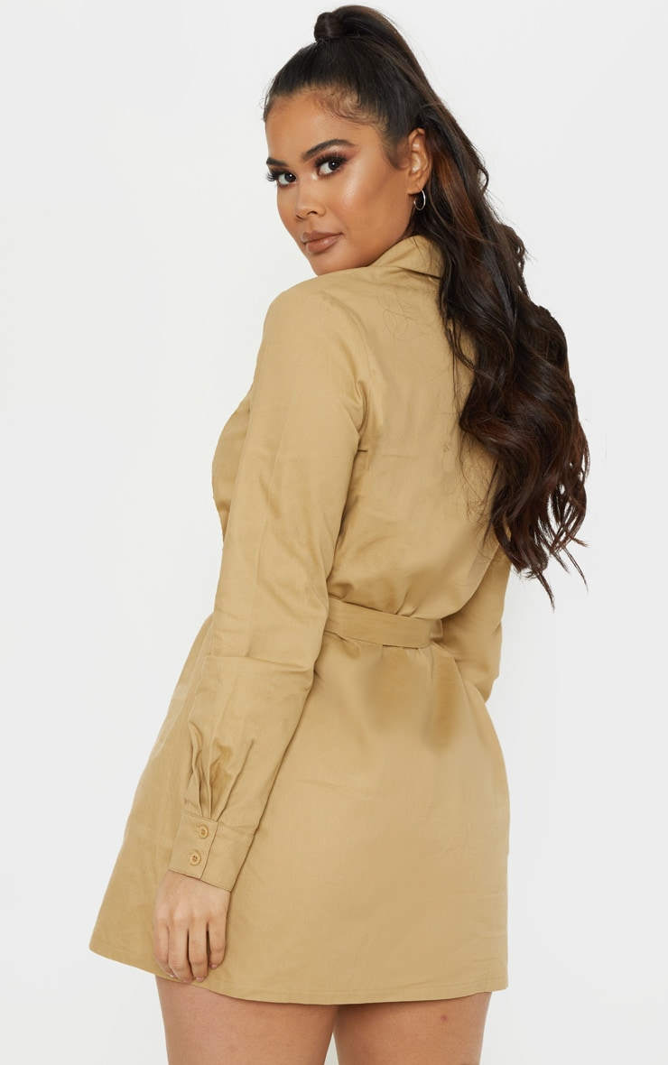 Camel Clasp Detail Buckle Cargo Shirt Dress 2