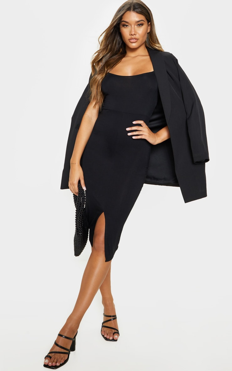 Black Split Front Strappy Midi Dress 4