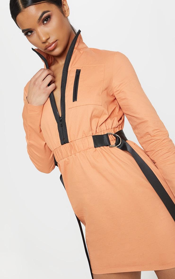 Robe cargo droite rouille à ceinture et zip 5