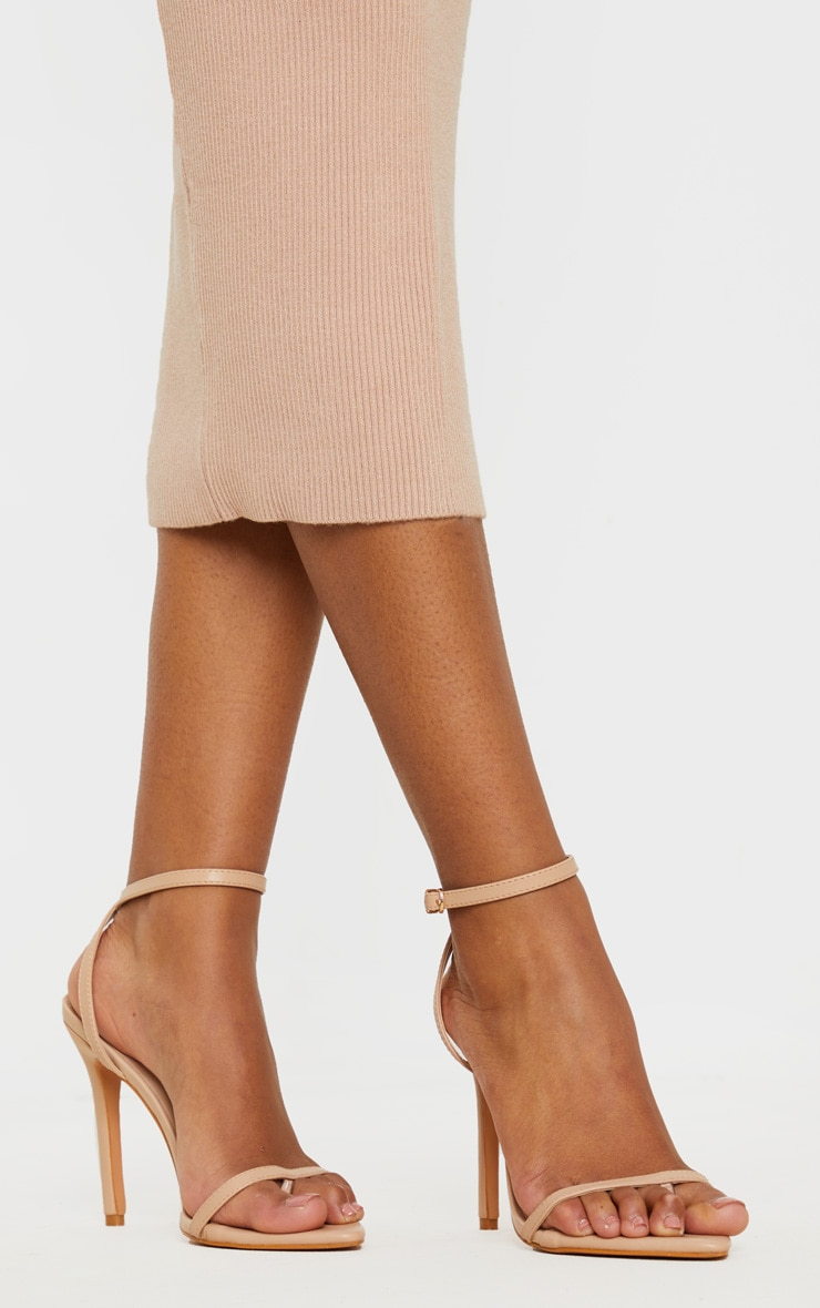 Nude Toe Thong Ankle Strap Point Toe Heeled Sandal 2
