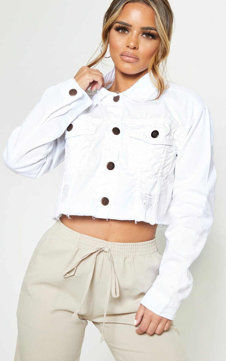 Petite White Raw Hem Cropped Denim Jacket 5