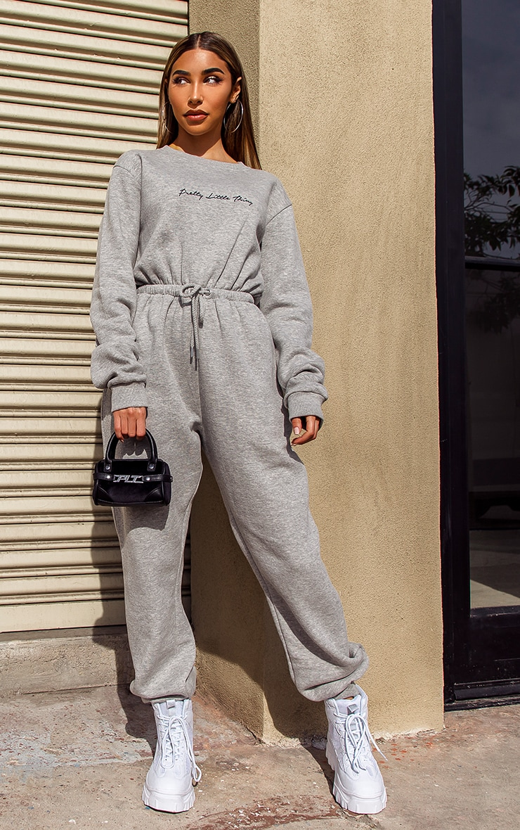 PRETTYLITTLETHING Grey Embroidered Sweat Jumpsuit 1