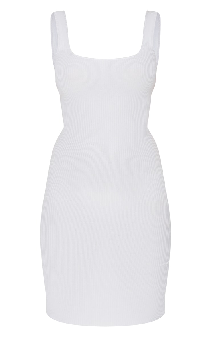 White Square Neck Low Back Knitted Midi Dress 5