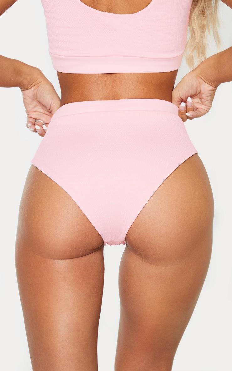 Baby Pink Crinkle Drawstring High Waist Bikini Bottoms 4