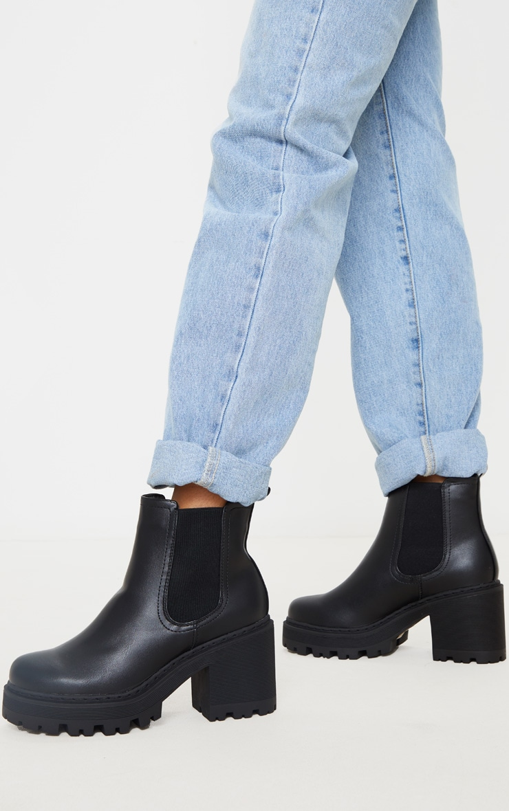 Black Wide Fit Chunky Heeled Chelsea Boot 2