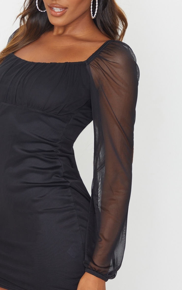 Black Mesh Ruched Bust Long Sleeve Bodycon Dress 4