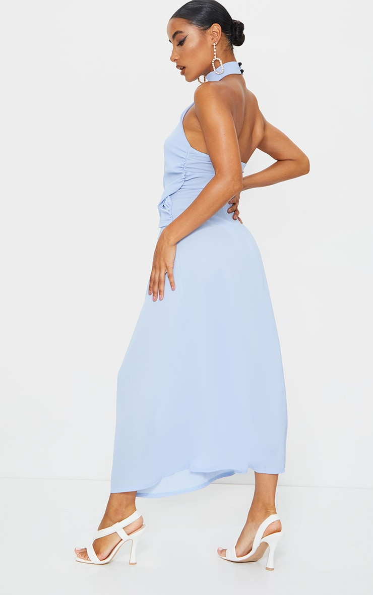 Dusty Blue Halterneck Wrap Front Maxi Dress 2