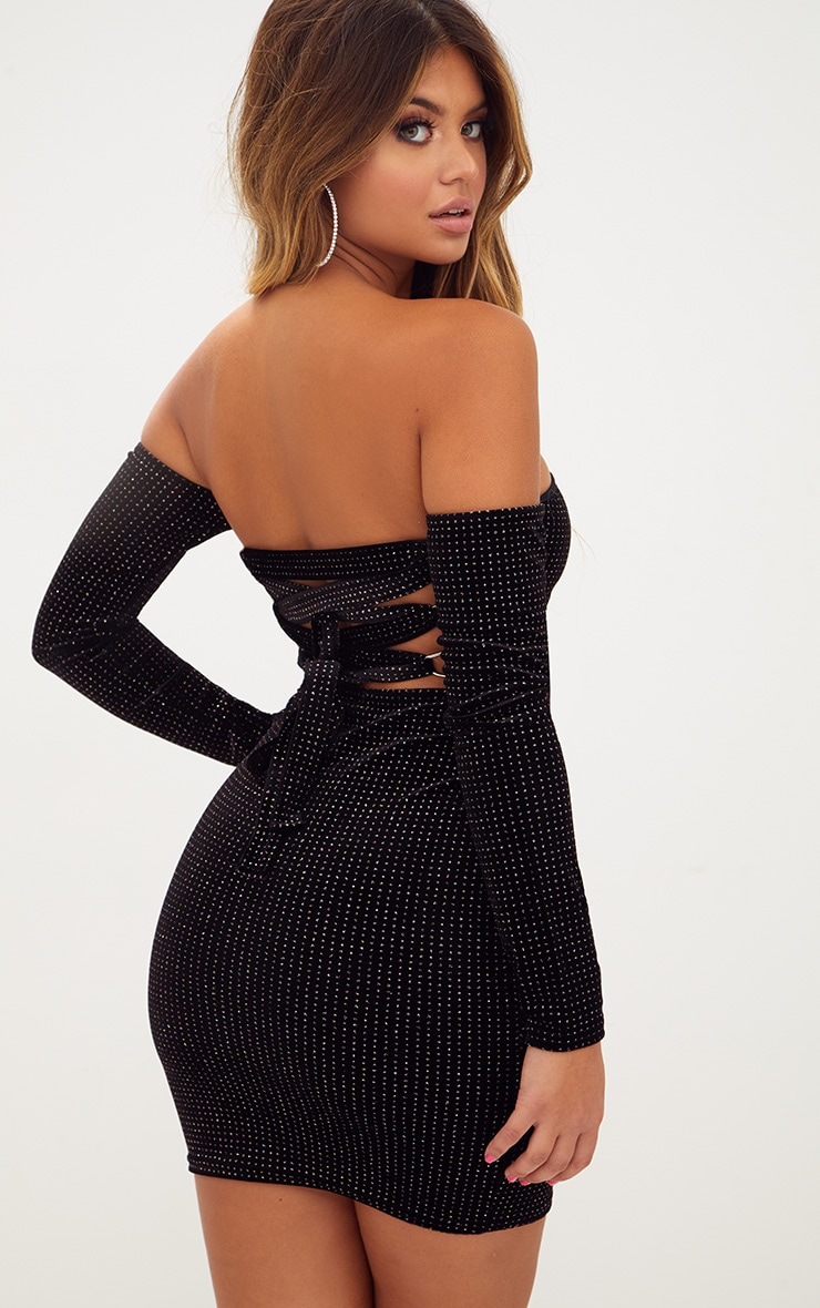 Black Velvet Back Strap Detail Bardot Bodycon Dress 1