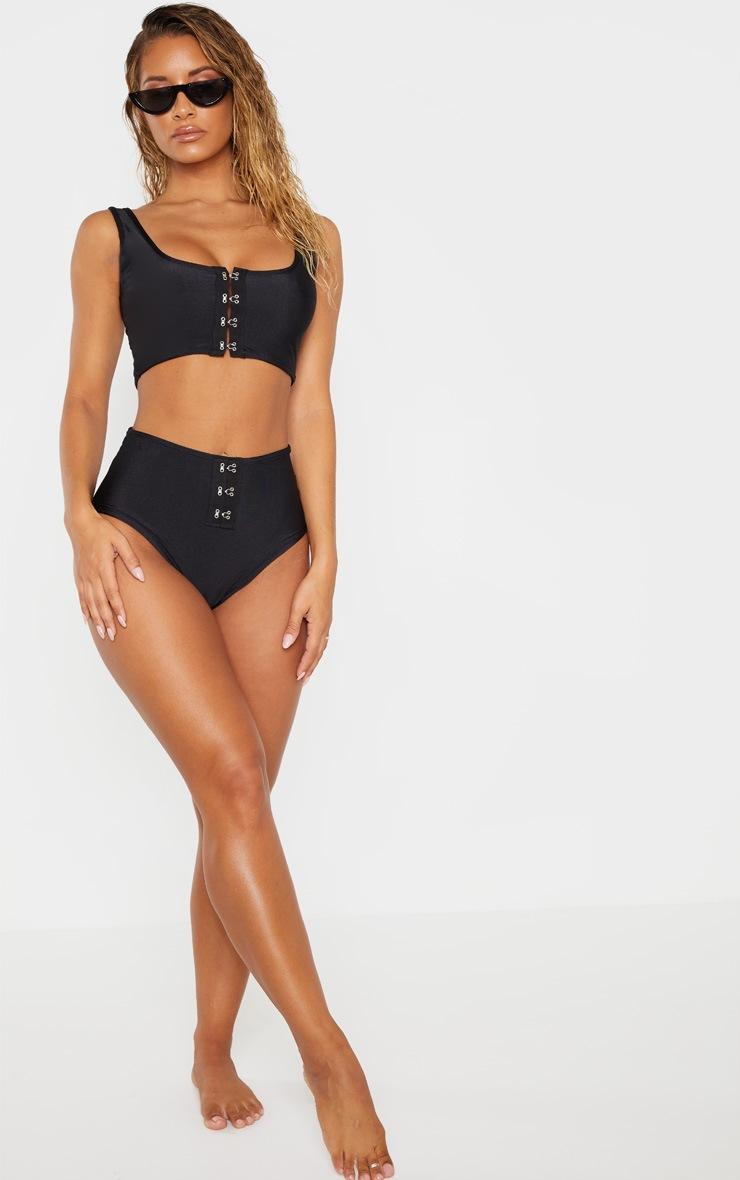 Black High Waist High Leg Hook & Eye Bikini Bottom 4