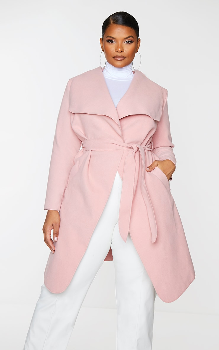 Plus Veronica Dusty Pink Oversized Waterfall Belt Coat 1