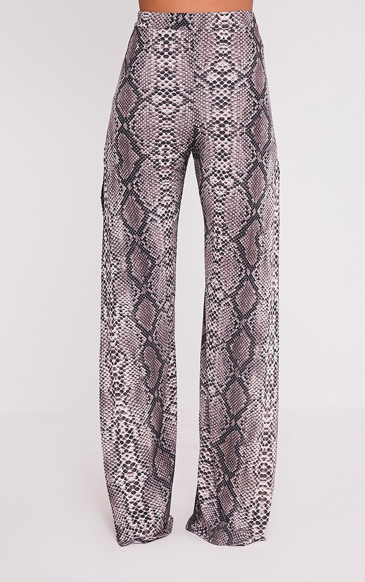 Darsee Taupe Snake Print Side Split Slinky Trousers 2