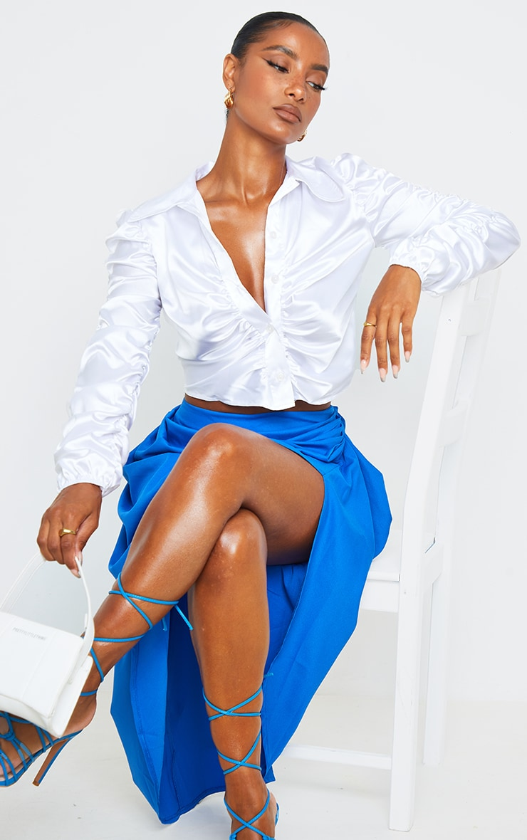 White Satin Ruched Cropped Shirt 1