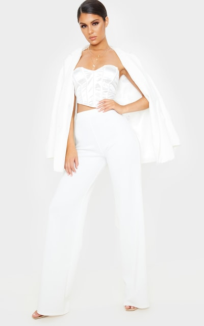 Cream Scuba Wide Leg Trouser