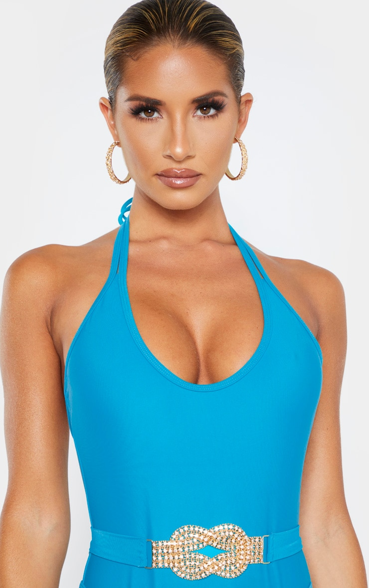 Turquoise Diamante Twist Trim Belted Swimsuit 5
