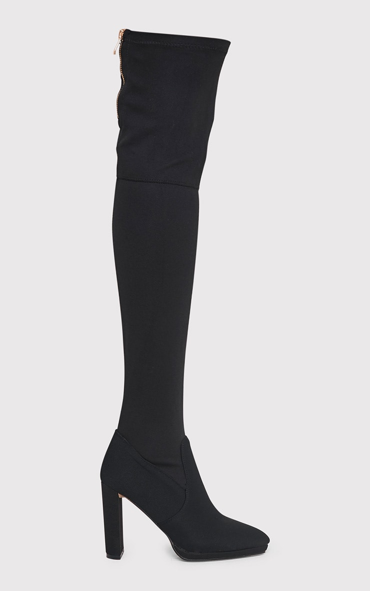 Riyah Black Knitted Pointy Thigh High Sock Boots 1