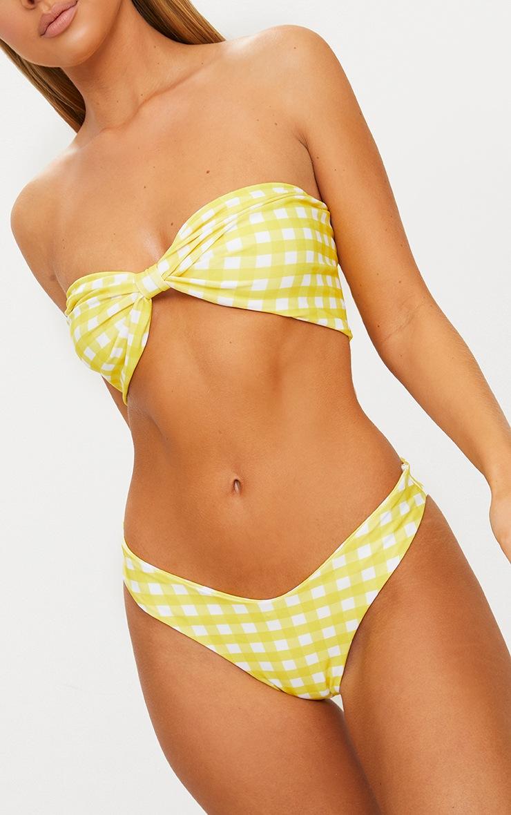 Yellow Gingham Bow Bikini Set 5