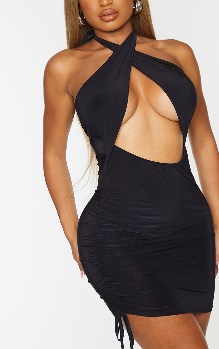 Shape Black Slinky Wrap Detail Ruched Bodycon Dress 4