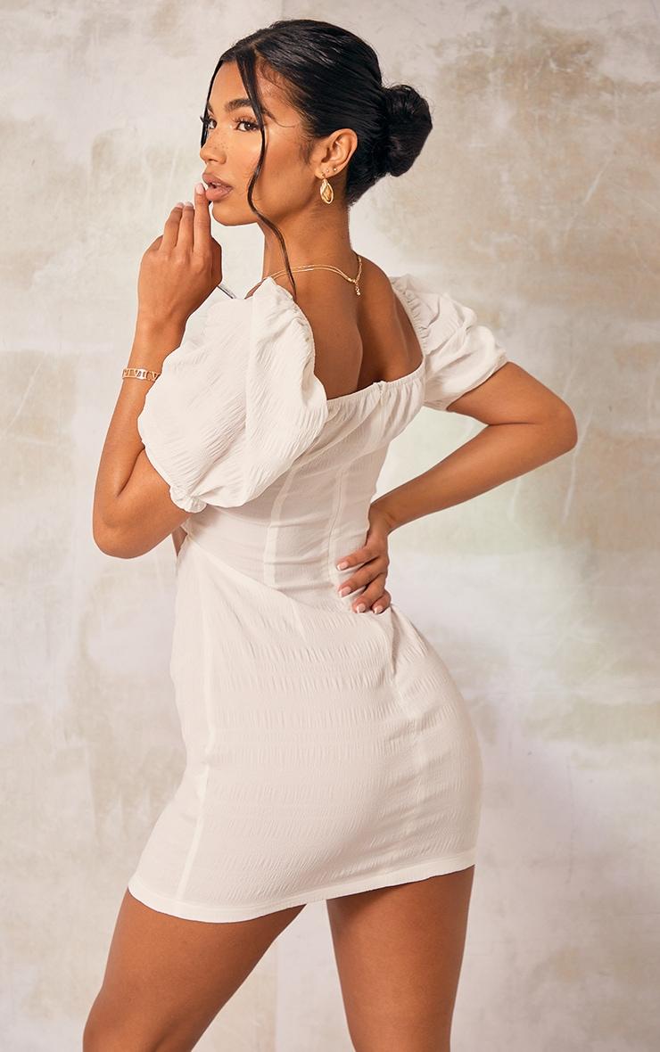 White Textured Linen Look Cut Out Puff Sleeve Shift Dress 2