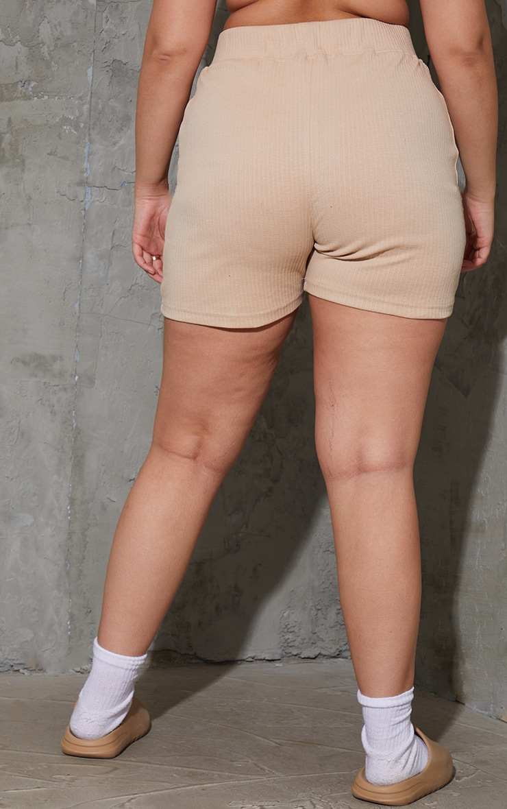 PRETTYLITTLETHING Plus Stone Badge Ribbed Seam Detail Cycle Shorts 3