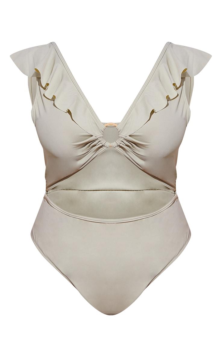 Plus Sage Green Frill Edge Ring Detail Swimsuit 5
