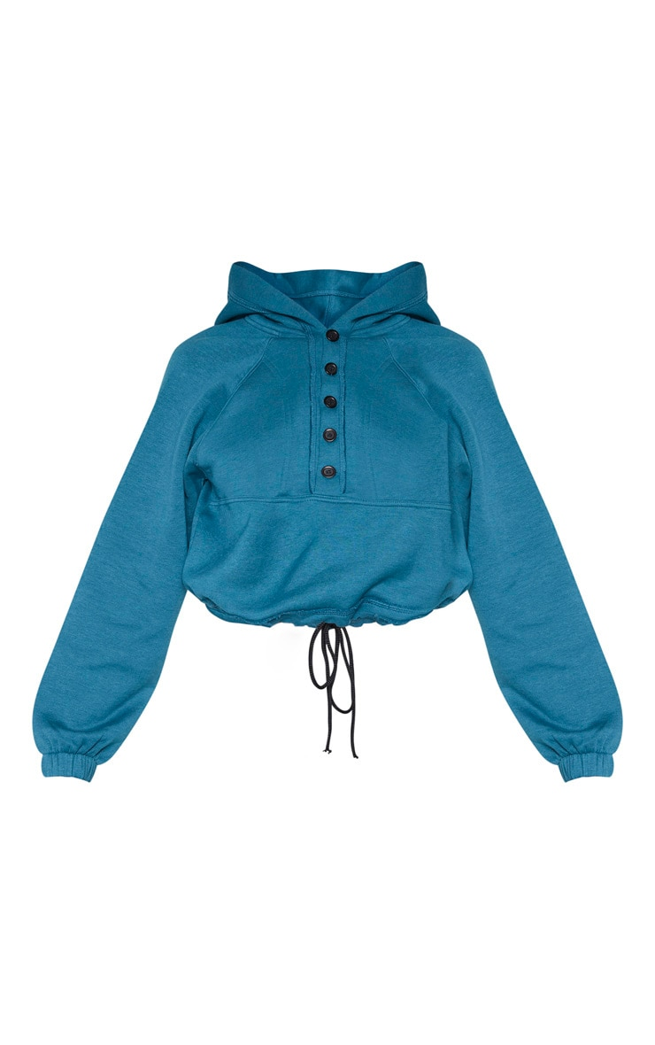 Teal Button Front Oversized Hoodie 3