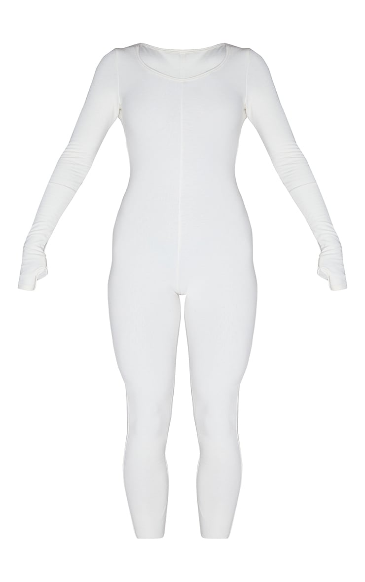 Recycled Cream Contour Jersey Thumbhole Scoop Neck Jumpsuit 5