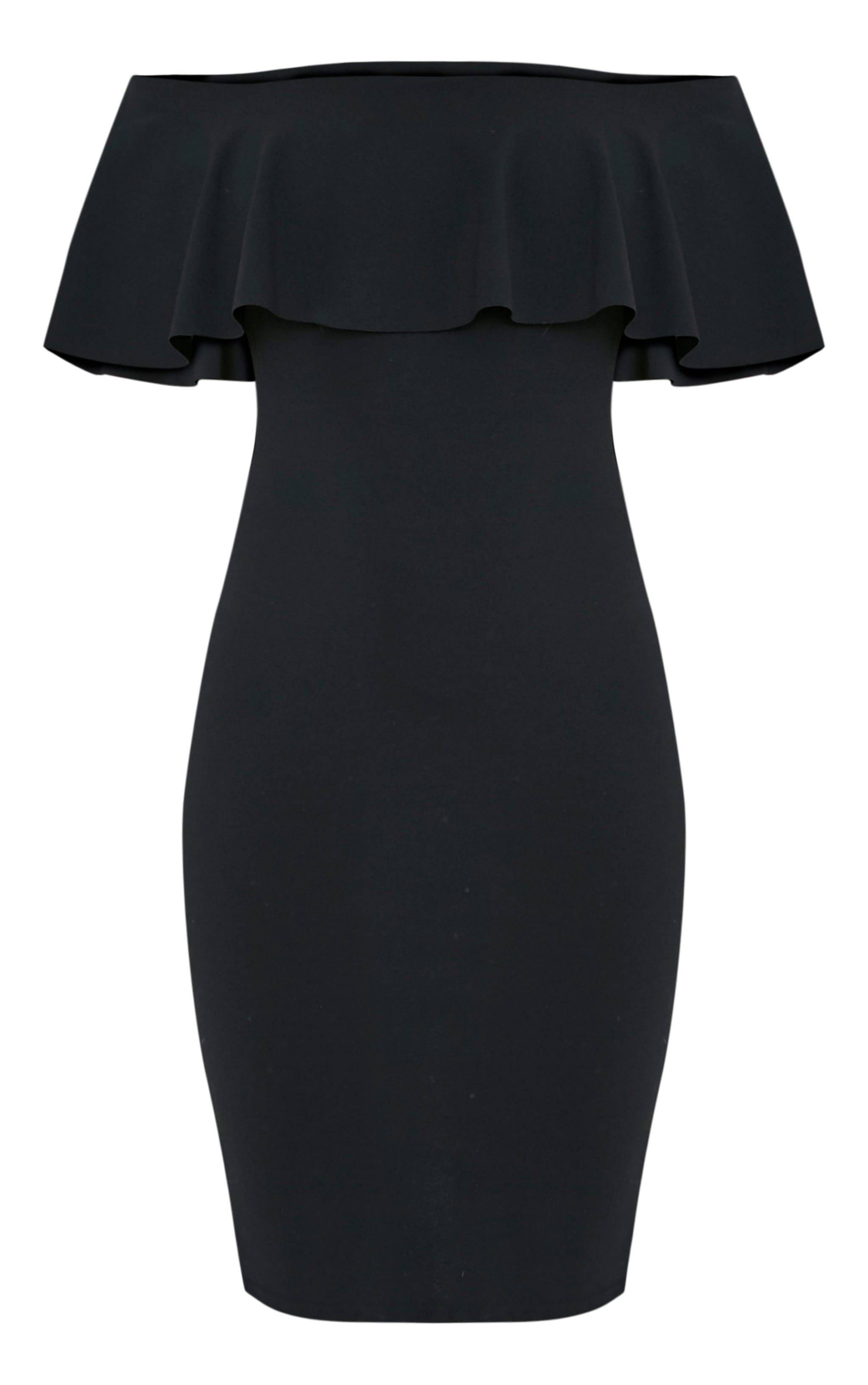 Celinea Black Bardot Frill Midi Dress 3