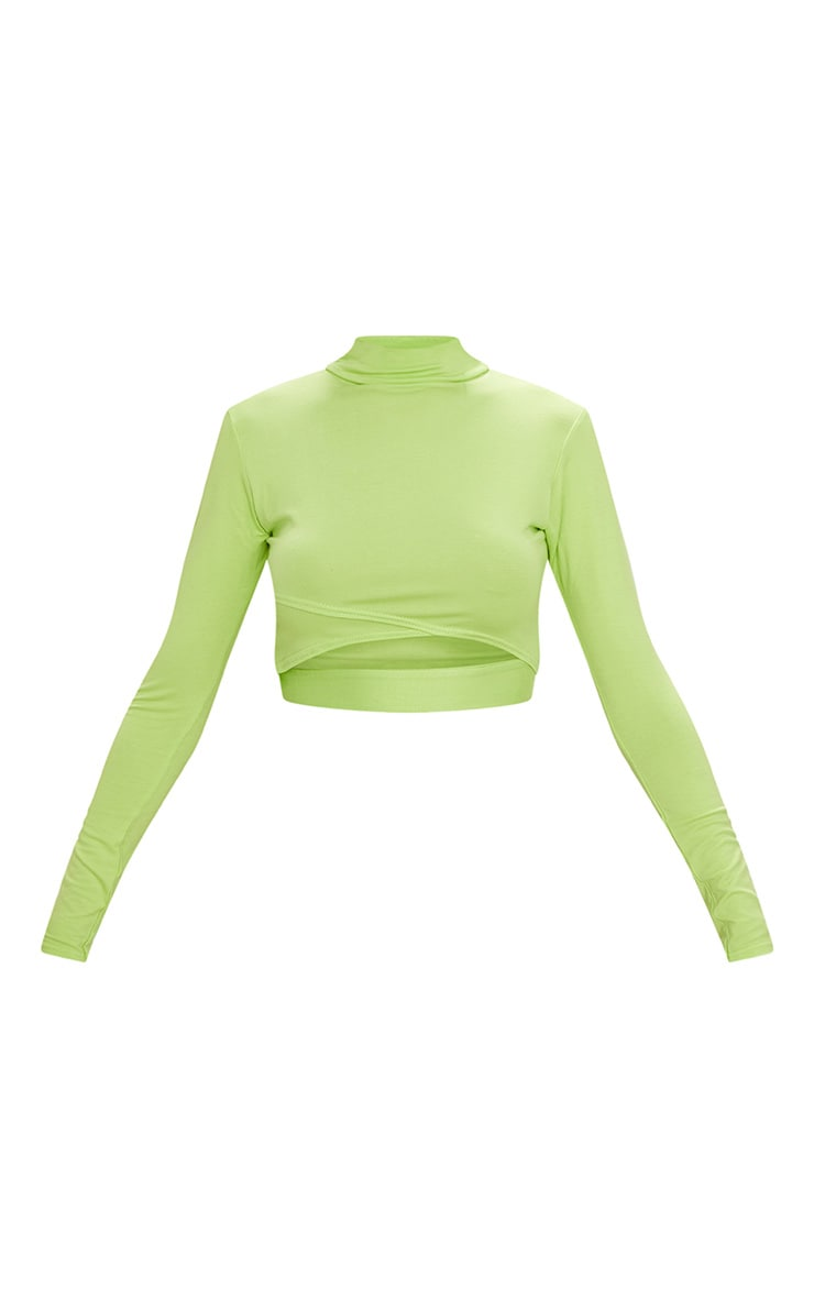 Lime Jersey Open Front Long Sleeve Crop Top 3