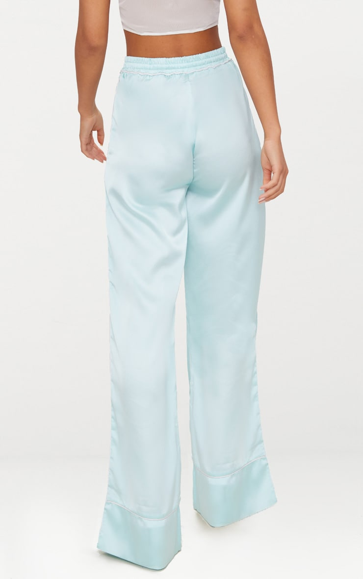 Mint Contrast Binding Satin Trousers 4