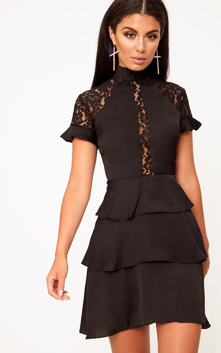 Black High Neck Ruffle Detail Bodycon Dress 1