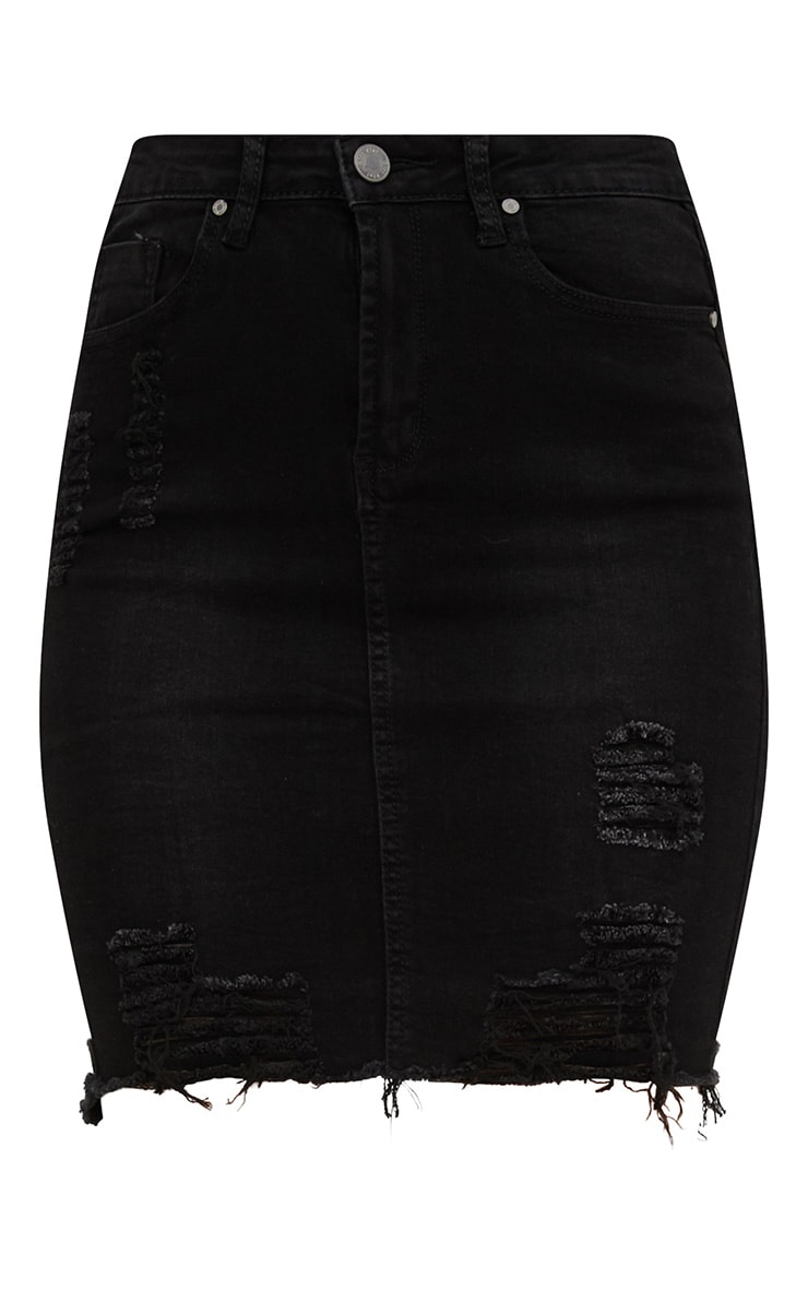 Black Distressed Denim Skirt 3
