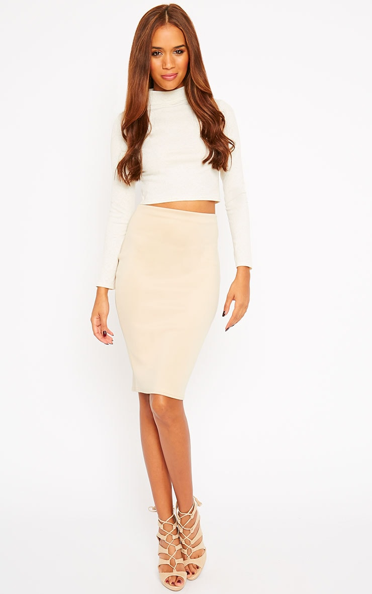 Basic Cream Ribbed High Neck Crop Top 3