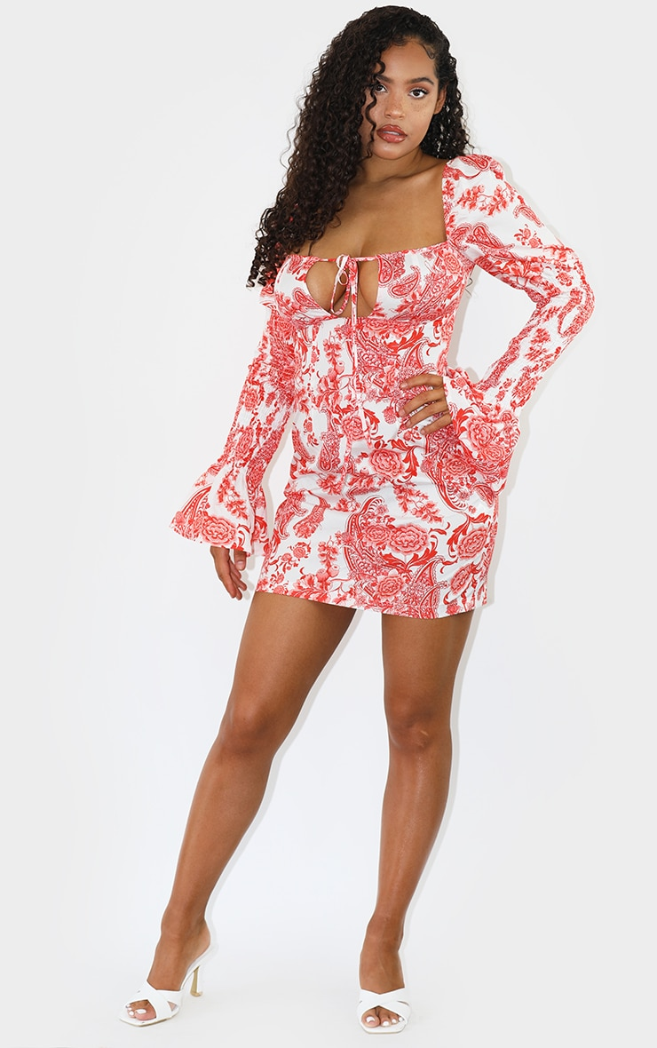Red Paisley Print Satin Shirred Bell Sleeve Bodycon Dress 3
