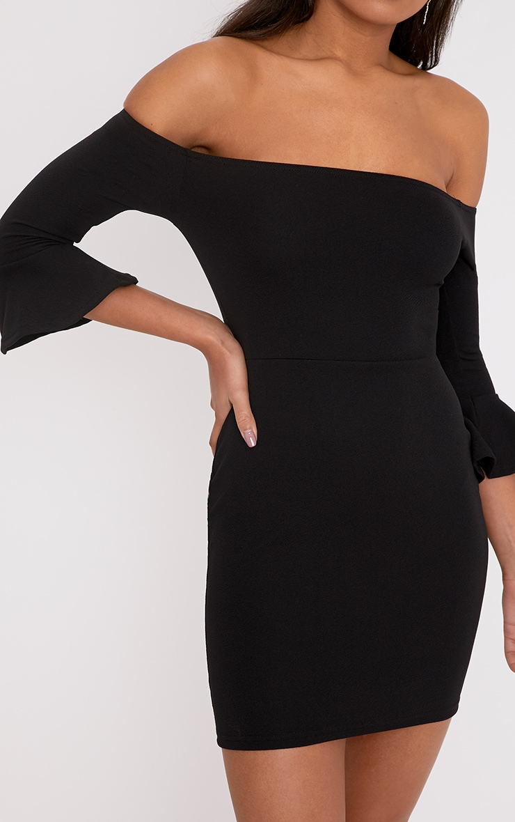 Lillianna Black Bardot Frill Cuff Bodycon Dress  5
