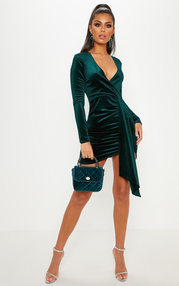 Emerald Green Velvet Drape Detail Bodycon Dress 4