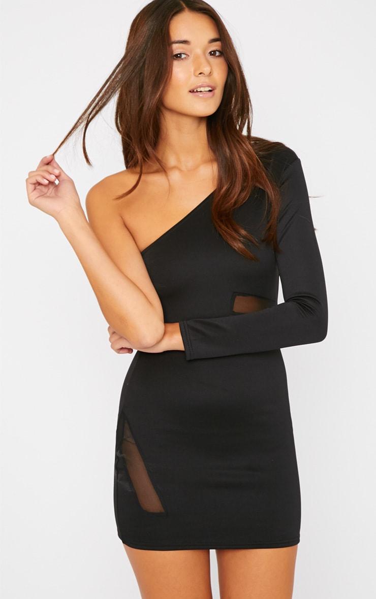 Skyla Black One Shoulder Mesh Insert Mini Dress 4