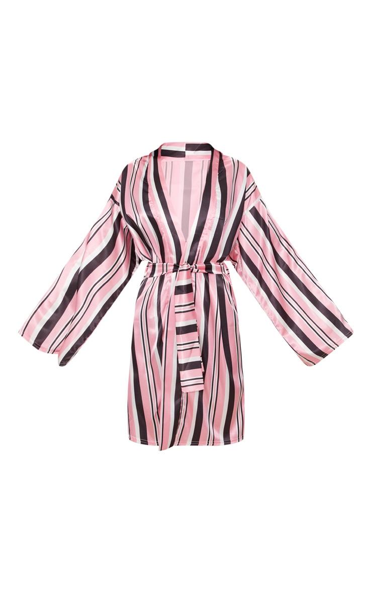 Pink Striped Satin Robe 3