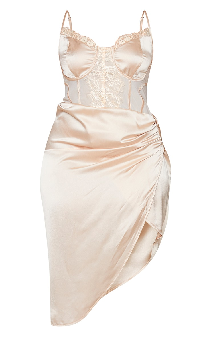 Plus Champagne Lace Insert Cup Detail Ruched Side Midi Dress 5